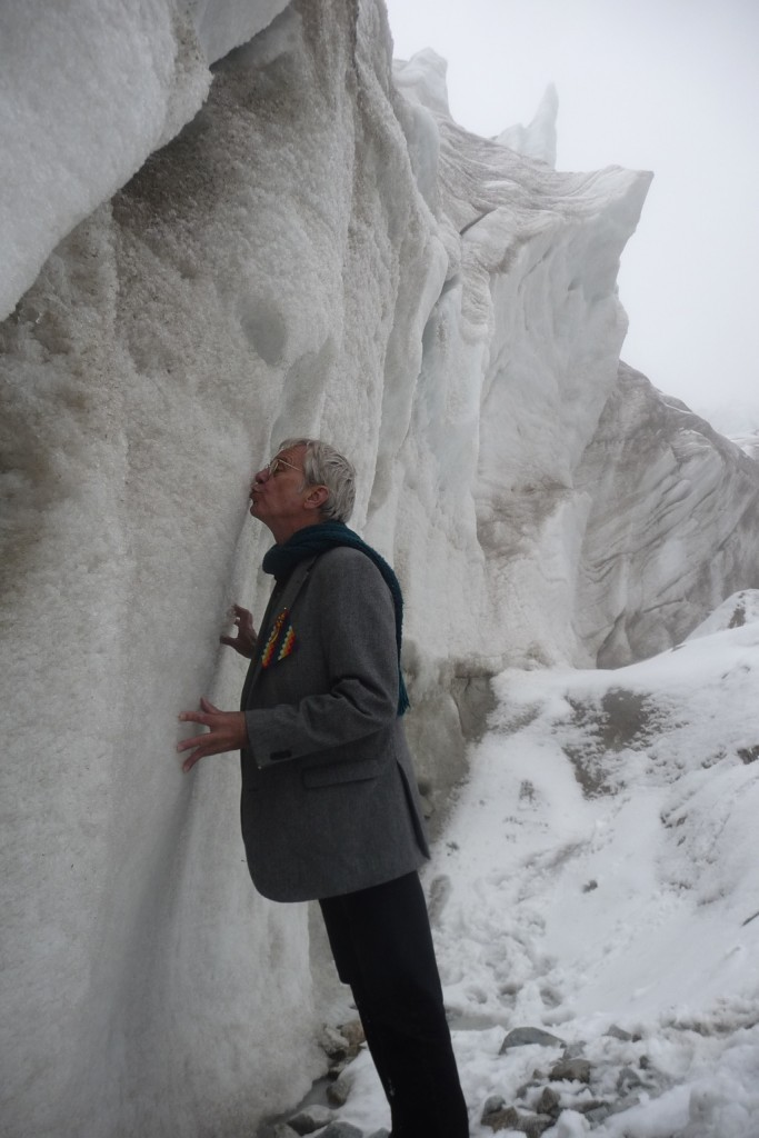 I greet my first glacier, 16,500 feet above (rising) sea level.